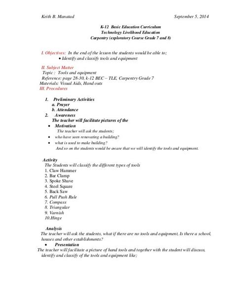 Carpentry Lesson Plans