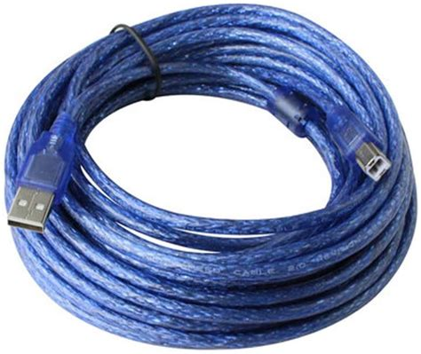 Caxico Clear Blue 33 ft Hi-Speed USB 2.0 Printer Scanner Cable Type A Male to Type B Male For HP, Canon
