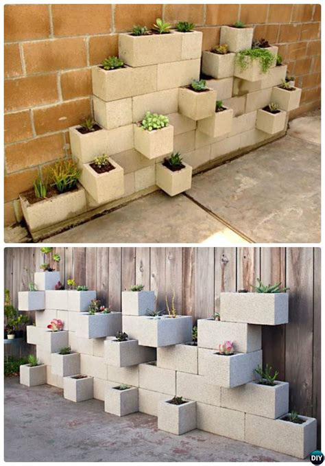 Cement Block Planters Diy Projects