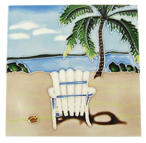 Ceramic Tile Beach Palm Tree Chair
