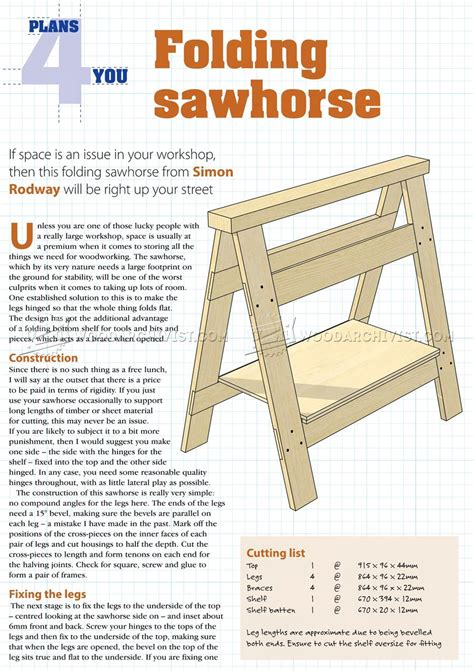 Chainsaw Sawhorse Plans Folding Bench