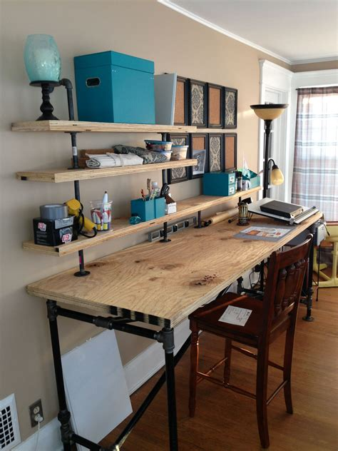 Cheap Diy Industrial Desk And Shelf