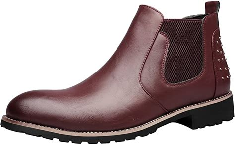 Chelsea Boots Mens Leather Chukka Ankle Boots Casual Studded Slip-on Duke Dress Formal Shoes by
