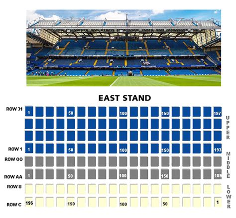 Chelsea Seating Plan East Stand Lower