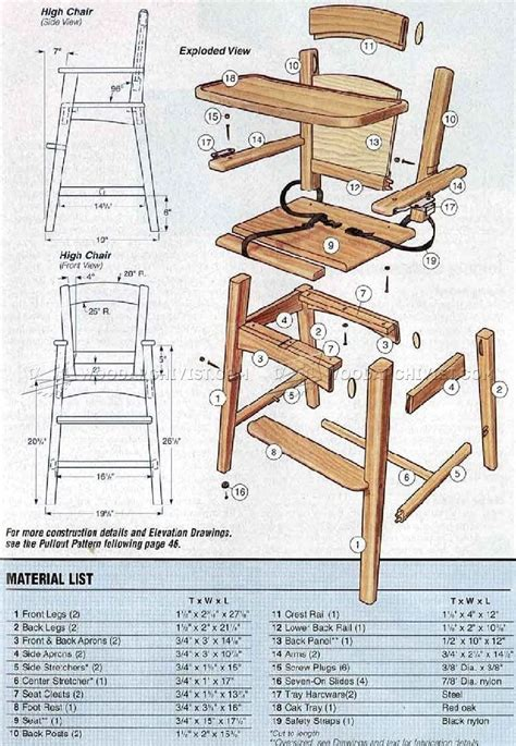 Childrens Wooden High Chair Plans