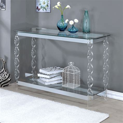 Chrome Console Table For Hallway Modern Shelf