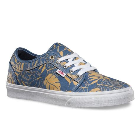 Chukka Low Mens Skateboarding Shoes (Leaves) Blue Twill