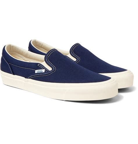 Classic Blue White Canvas Unisex Slip-On Trainers Shoes