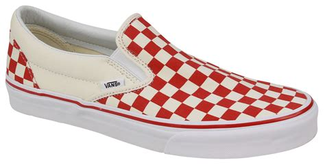 Classic Slip On (Primary Checker) Racing Red/White Size 6