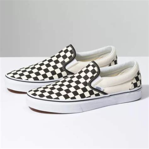 Classic Slip On Black Off White Checkerboard VN-0EYEBWW Mens US 6