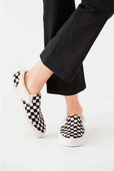 Classic Slip On Sherpa Checkerboard M 8.5 W 10