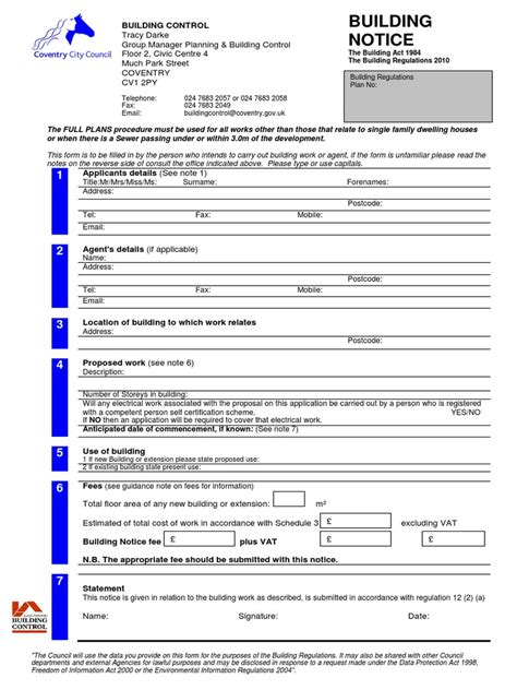 Cnc Building Notice Form