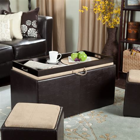 Coffee Table Storage Ottoman With Tray
