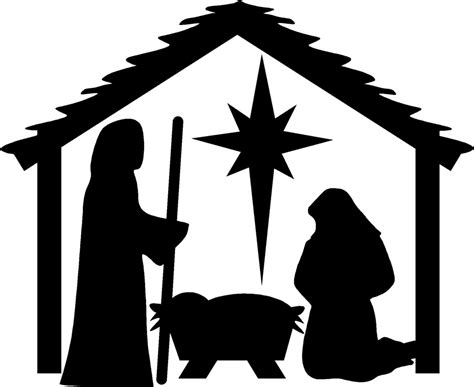 Colorful Nativity Scene Silhouette Patterns