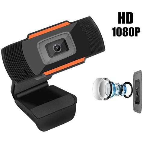 Computer Camera USB Mini 1080P Webcam with Microphone for Desktop or Laptop (1080P-Black)