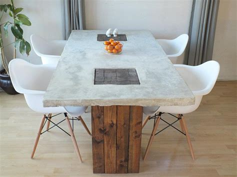 Concrete And Wood Dining Table Diy