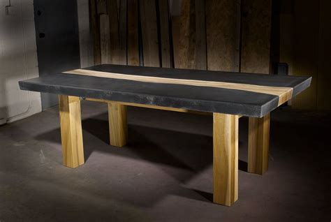 Concrete Table With Wood Inlay Diy Room
