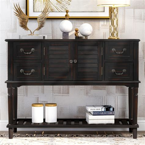 Console Cabinet With Drawers And Doors