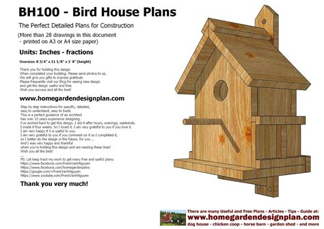 Construction Plans For Bird Houses