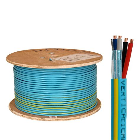 Control Cable Riser: 22/2(Shielded) Data + 18/2 Power, Stranded Bare Copper Conductors, Teal with Yellow Stripe, 1000ft Spool