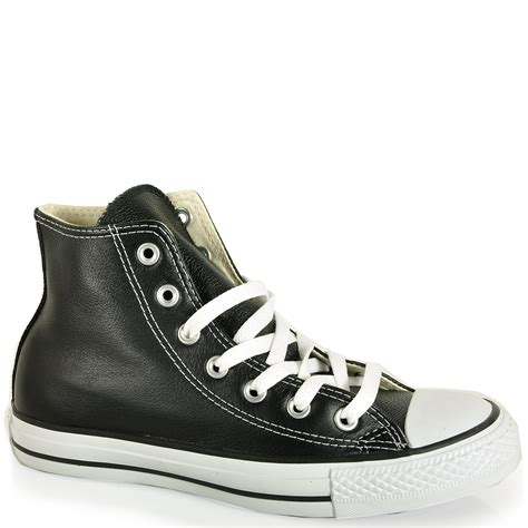 Converse Black Leather High Top Sneakers