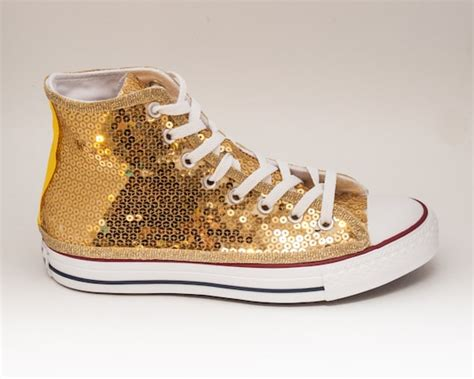 Converse Gold Sequin And Canvas Sneakers