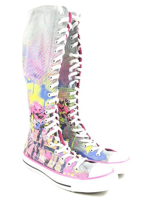 Converse Knee High Neon Colored Zip Up Lace Sneakers