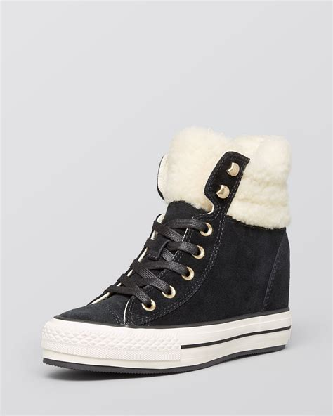 Converse Lace Up High Top Wedge Sneakers Faux Shearling