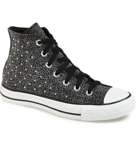 Converse Leather Collar Studded High Top Sneaker