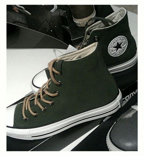 Converse Leather Sneakers In Green And Brown