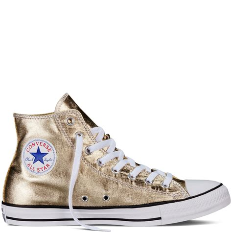 Converse Mens Gold Metallic High Top Sneakers