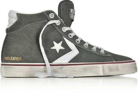 Converse Pro Leather Vulc Mid Distressed Gray Suede Sneakers