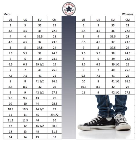 Converse Sneaker Sizing Chart