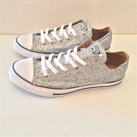 Converse Womens Silver Glitter Sneakers