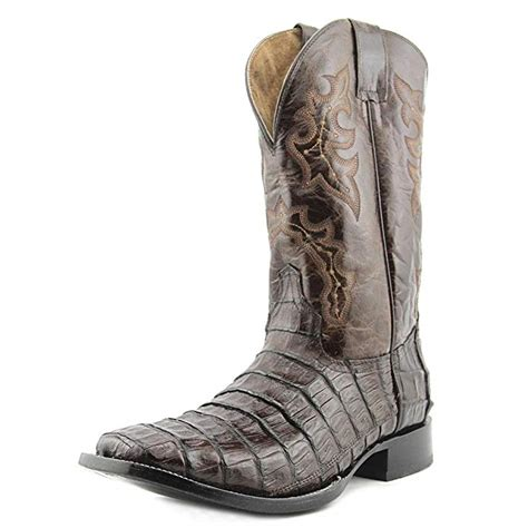 Corral Men's Econo Line Caiman Belly Tail Square Toe Cowboy Boots