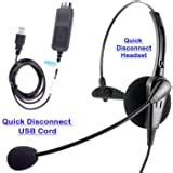Cost effective USB Computer Headset, Durable Call center headset for VoIP Softphone of MS Lync (Skype for Business), Cisco Jabber with Jabra compatible QD