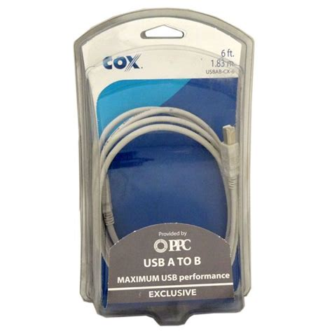 Cox 6 Foot High Speed A To B 2.0 USB Printer Cable Case Pack 12