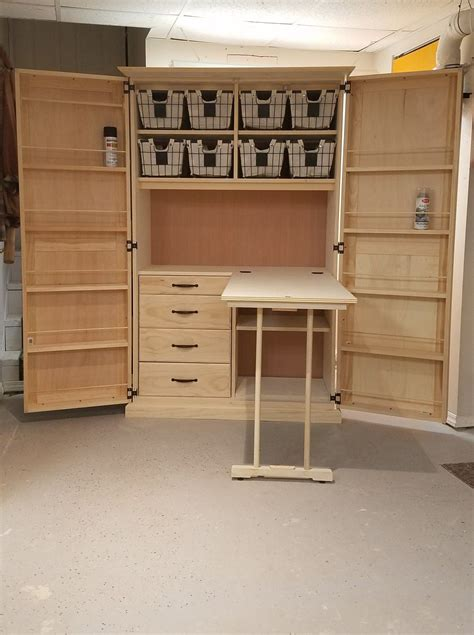 Craft Cabinet With Fold Out Table Building Plans