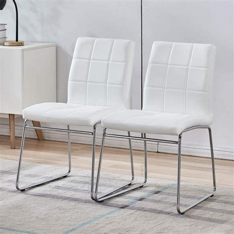 Cream Leather Dining Chairs Chrome Legs