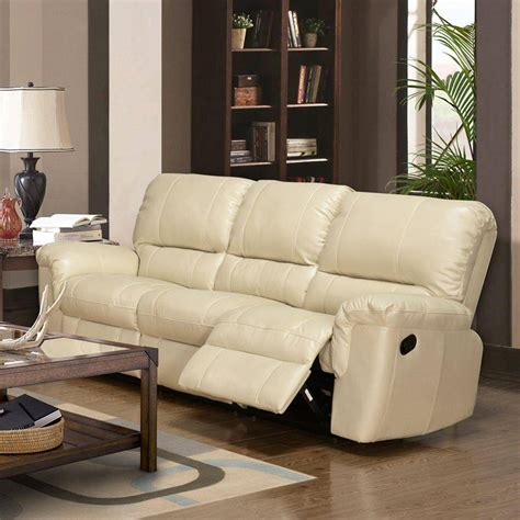 Cream Leather Sofa And Recliner