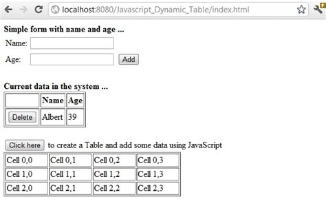 Create Table Dynamically Javascript