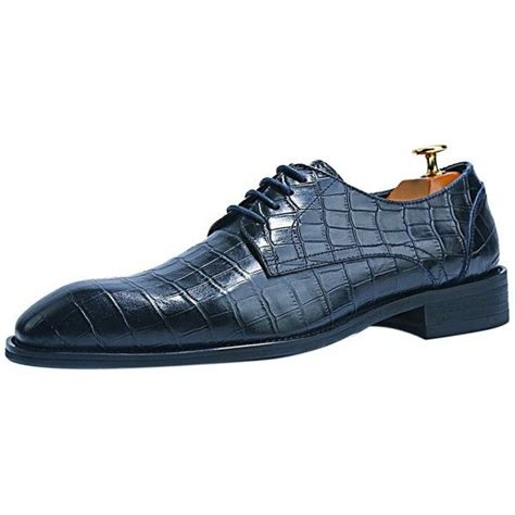 Crocodile Pattern Men's Oxfords Luxury Dress Embossed Genuine Leather Shoes Black Navy