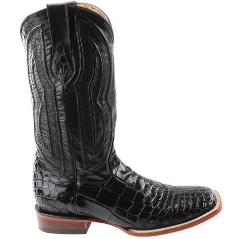Curved Tip Cowboy Boots Black Alligator