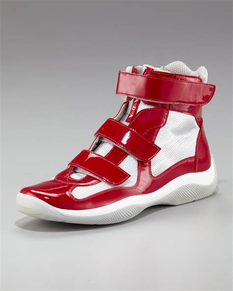 Cylinder Mens Red Leather High Top Strap Sneakers Shoes