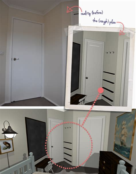 DIY Behind The Door Bookshelves