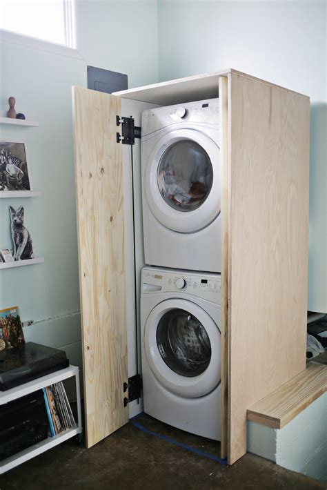 DIY Cabinet For Stack Laundry