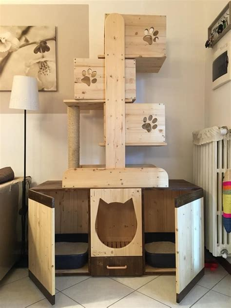 DIY Cat Tree With Litter Box