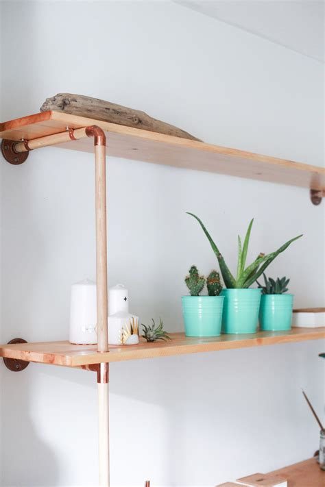DIY Copper And Wood Shelf