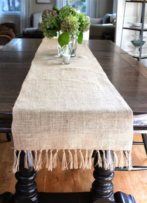 DIY Fringed Burlap Table Runner