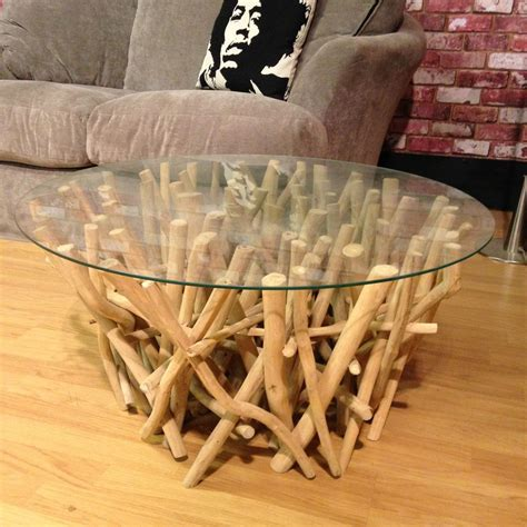 DIY Glass Top Driftwood Table